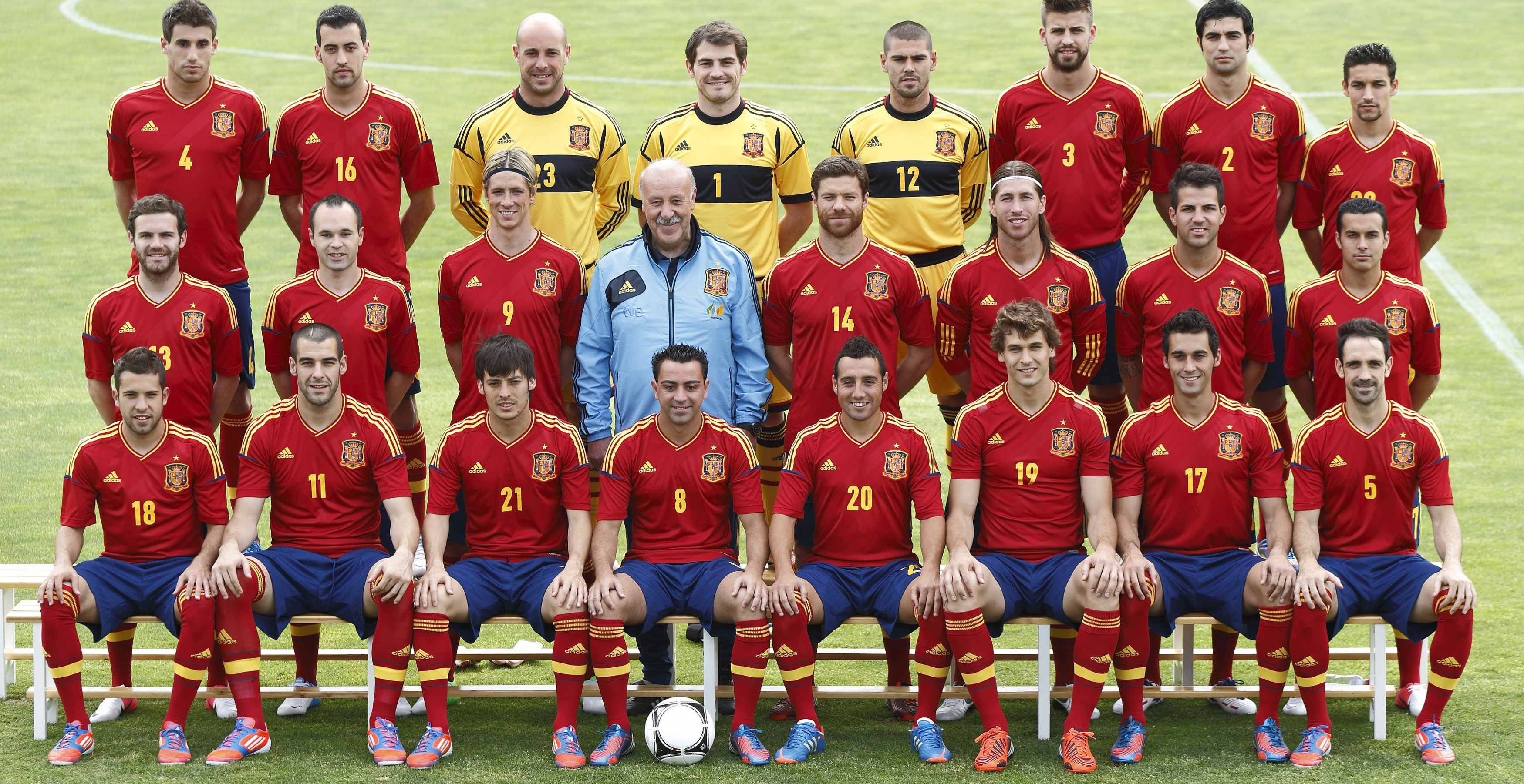 Spanish national soccer team members pose for official picture ahead the Euro 2012 championship at Soccer City area in Las Rozas