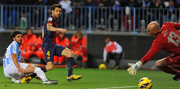 Malaga vs Barcelona Cesc Fabregas goal